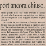 """Articolo tratto dal """"Gazzettino di Padova"""" del 29 maggio 2009 dove il sindaco reagisce alle critiche assicurando l'inaugurazione (LA TERZA) del polo sportivo entro l'anno."""