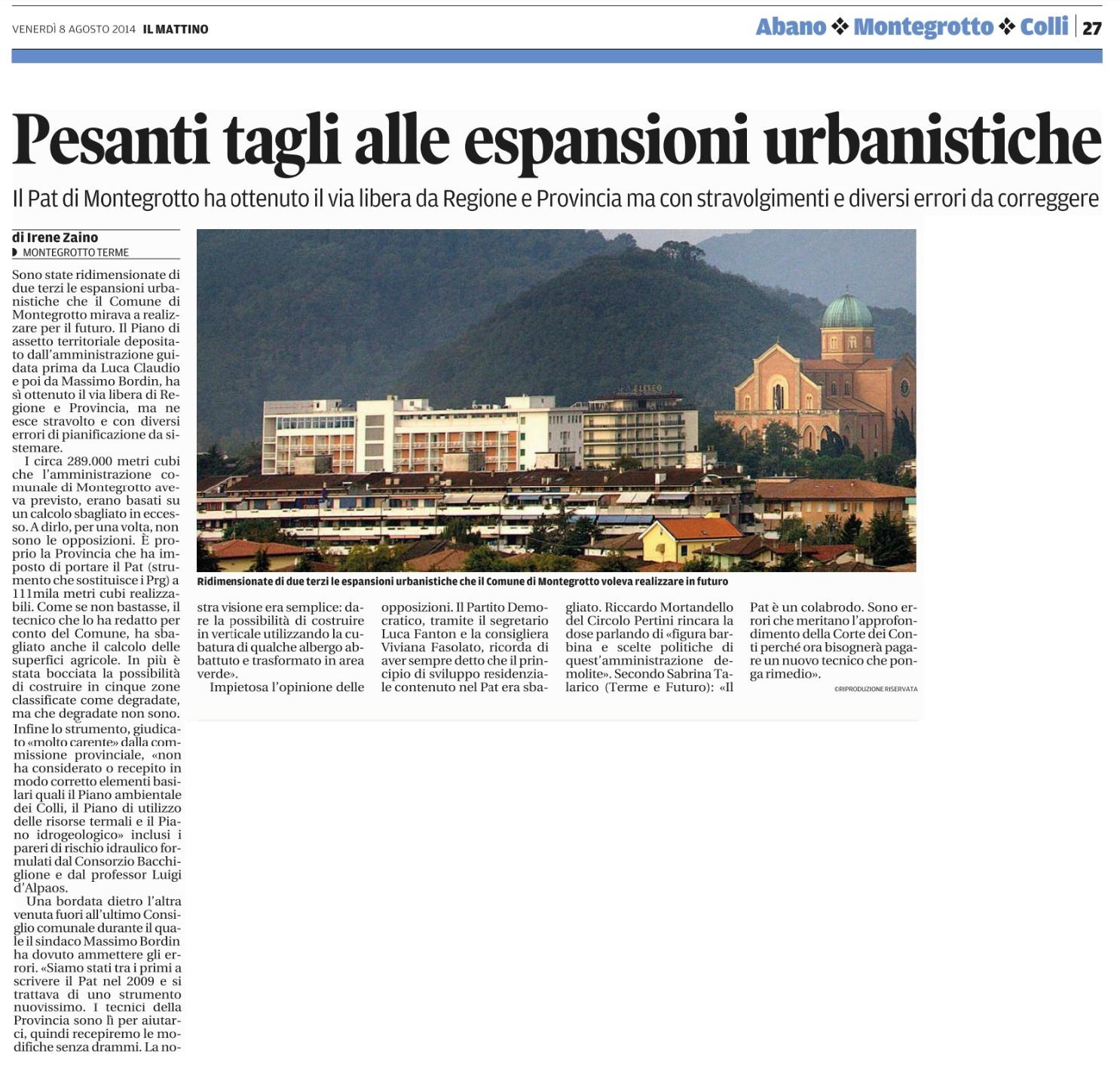 pesanti tagli alle espansioni urbanistiche Montegrotto Terme