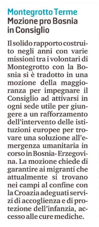 mozione per la bosnia di Montegrotto Terme